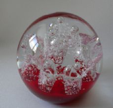 Glass Round Bubble paperweight. Red